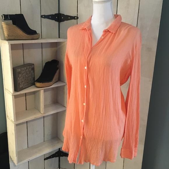 0c6afe02f5b6a LOFT Tops | Softened Shirt Peach Crinkled Button Down | Poshmark